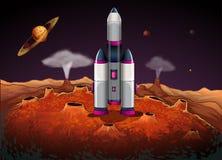 Un razzo al outerspace con i pianeti illustrazione vettoriale