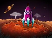 Un razzo al outerspace vicino ai pianeti royalty illustrazione gratis