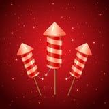 Un razzo di tre fuochi d'artificio Fotografia Stock