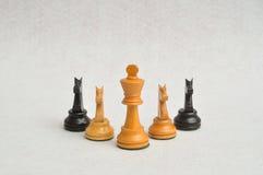 Un re bianco con i quattro pezzi del cavaliere Immagine Stock Libera da Diritti