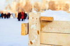 Un recinto fatto dei bordi sotto la neve Fotografia Stock