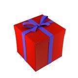 Un rectángulo de regalo rojo en el fondo blanco Fotos de archivo libres de regalías