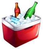 Un refrigerador con las bebidas no alcohólicas Imágenes de archivo libres de regalías