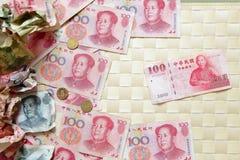 Un regard proche à l'argent chinois Photo stock