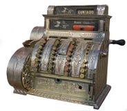 Un registratore di cassa antico isolato su bianco. Fotografia Stock Libera da Diritti