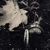 Un reloj de bolsillo enterrado en suciedad fotos de archivo