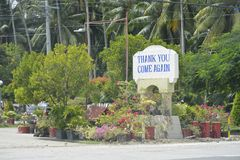 Un ` remercient vous, encore venu le signage de ` situé à la frontière de la ville de Digos et le Hagonoy, Davao del Sur, Philipp image stock