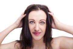 Un retrato de la cara hermosa con los ojos hermosos - aislados en blanco imágenes de archivo libres de regalías