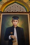 Un retrato de 14to Sultan Deli en Sultan Maimoon Palace, Medan Indonesia imagen de archivo