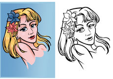 Un retrato de un blonde del animado Imagen de archivo