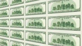 Un retro 100 della prospettiva delle banconote in dollari 3d Fotografie Stock Libere da Diritti