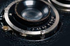 Un retro primo piano dell'obiettivo di macchina fotografica Fotografia Stock