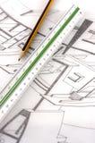 Un righello della scala su un'illustrazione tecnica Immagine Stock