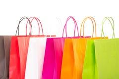Un ritaglio di sei sacchetti della spesa Immagini Stock Libere da Diritti