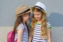 Un ritratto all'aperto di estate di due ragazze felici 7, 8 anni nel profilo di conversazione e ridere Fotografie Stock