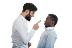 Un ritratto del primo piano di una discussione pazza sviluppata di due uomini, Immagini Stock Libere da Diritti