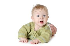 Un ritratto di cinque mesi della neonata Immagini Stock