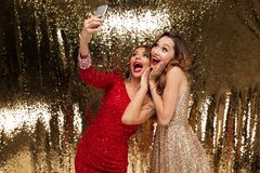 Un ritratto di due ha eccitato le donne allegre in vestiti frizzanti Fotografie Stock
