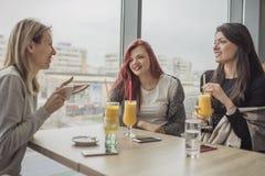 Un ritratto di tre giovani belle donne che per mezzo del telefono cellulare al co Immagine Stock