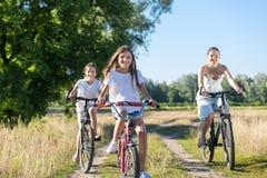 Un ritratto di tre ragazze felici che guidano le biciclette nel campo al giorno soleggiato Immagini Stock Libere da Diritti