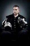 Un ritratto di un soldato medioevale Immagini Stock Libere da Diritti