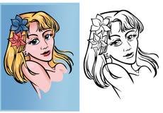 Un ritratto di una bionda di anime illustrazione vettoriale
