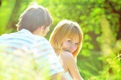 Un ritratto di una coppia dolce nell'amore Fotografia Stock