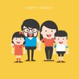 Un ritratto di una famiglia alla moda felice di quattro membri che posa insieme Immagini Stock