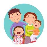 Un ritratto di una famiglia felice di quattro membri che posa insieme Parents i wi royalty illustrazione gratis