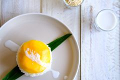 Un riz collant de mangue thaïlandaise traditionnelle de dessert et de noix de coco douce Images stock