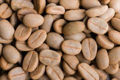 Un-roast arabica raw coffee beans. Close up Stock Photos
