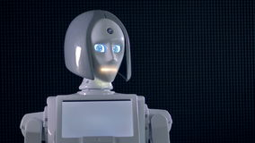 Un robot blanc déplace sa tête et active des indicateurs des yeux et d'une bouche 4K banque de vidéos