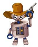 Un robot de jouet tenant une arme à feu Images libres de droits