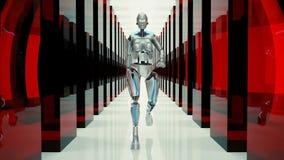 Un robot futuristico di umanoide, camminante tramite un tunnel fantastico illustrazione vettoriale