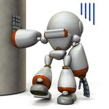 Un robot que está colgando en un pilar Lo agotan ilustración del vector