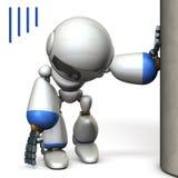 Un robot que está colgando en un pilar Lo agotan stock de ilustración