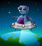 Un robot sopra la terra Fotografia Stock Libera da Diritti