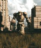 Un robot viejo que camina en ciudad abandonada ilustración del vector
