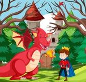 Un roi et un dragon au château illustration de vecteur