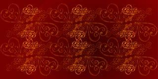 Un rojo, fondo floral del color de Borgoña con el ornamento del oro Un fondo real del color de Borgoña con los corazones del oro  libre illustration