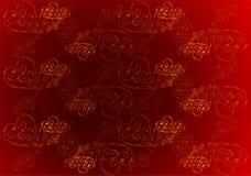 Un rojo, fondo floral del color de Borgoña con el ornamento del oro Un fondo real del color de Borgoña con los corazones del oro  ilustración del vector