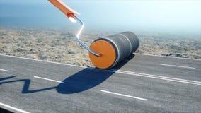 Un rollo del asfalto Cepillo del camino trabajador en la elevación de mercancías; el azul pintó; a puerta cerrada; abandonado rep stock de ilustración