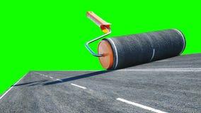 Un rollo del asfalto Cepillo del camino trabajador en la elevación de mercancías; el azul pintó; a puerta cerrada; abandonado Ais stock de ilustración
