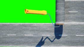 Un rollo del asfalto Cepillo del camino trabajador en la elevación de mercancías; el azul pintó; a puerta cerrada; abandonado Ais libre illustration