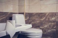 Un rollo del papel higiénico en el fondo del retrete Al borde del baño Las tejas y el retrete en la falta de definición del fondo Imagenes de archivo