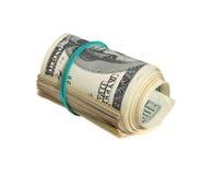 Un rotolo della Banca di cento banconote in dollari Fotografia Stock Libera da Diritti