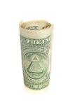 Un rotolo della banconota in dollari Fotografia Stock