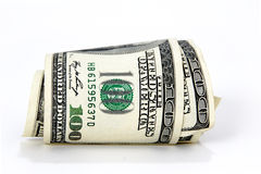 Un rotolo di $100 fatture Immagine Stock