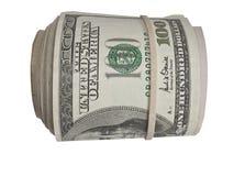 Un rotolo di 100 fatture del dollaro Fotografia Stock