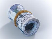 Un rotolo di 500 banconote saudite 2 del riyal Immagini Stock